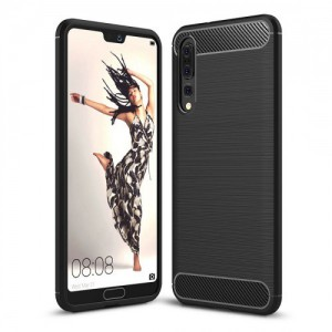 Tuff-Luv  K2_41 Brushed Carbon Fiber Style TPU Protective Shockproof Back Cover Case for Huawei P20 Pro - Black