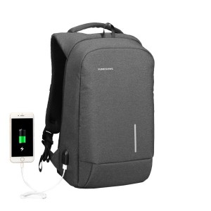 "Kingsons KS3149W Smart Backpack 15.6"" with USB Port, Dark Grey"