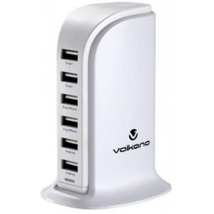 Volkano VK103WT Peak Series White 6 Port USB Charger