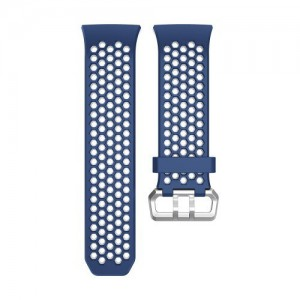 Tuff-Luv  I14_75  TPU Dual Colour Air-Cool Silicone Strap Wristband for FitBit Ionic - Blue and White (Large - 170mm-205mm)