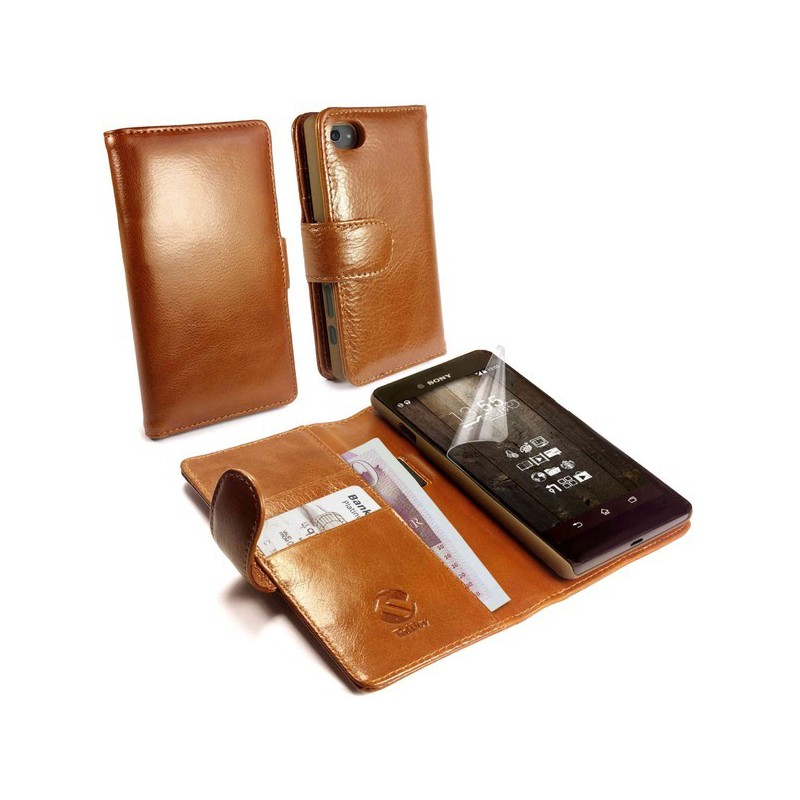 Tuff-Luv  I9_72  Vintage Brown Leather Wallet Case Cover for Sony Xperia Z5 Compact - Brown (Inc Screen Protector)
