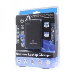 Volkano  VK-8000-BK  Recharge Series Universal Laptop Charger With 8 Connectors upto 90W -Black