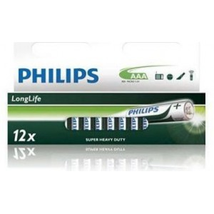 Philips  R03L12B-97  R03L12B 12x AAA Zinc Carbon Long Life Battery