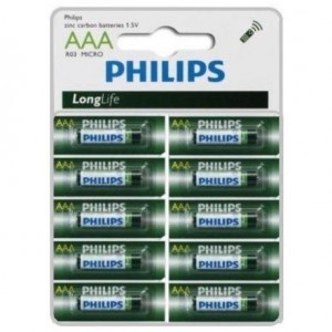 Philips  R03L10S-97  LongLife Battery 10 X R03L10S AAA Zinc Carbon