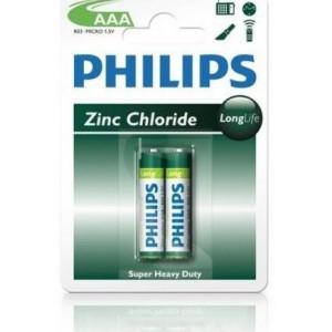 Philips  R03L2B-97  R03L2B  2x AAA  Zinc Carbon LongLife Battery