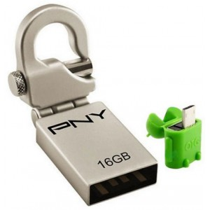 PNY POTGA2MHK16-W Mini Hook OTG 16GB With White Adapter to Tablet -Silver
