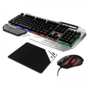 VX Gaming  VX-101-BKSL Combat Series Keyboard, Mouse, VK2006 Mousepad Combo – Silver