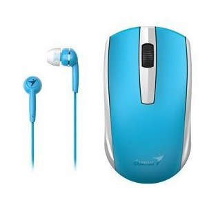 Genius 312-80001402 MH-8100 Wireless Mouse and Wired Earphone Combo - Blue