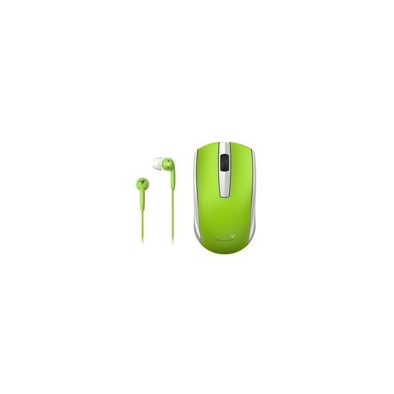 Genius  312-80001404  MH-8100 Wireless Mouse and Wired Earphone Combo - Green