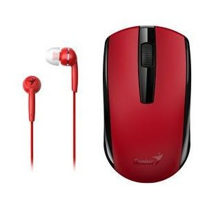 Genius 312-80001403  MH-8100 Wireless Mouse and Wired Earphone Combo - Red