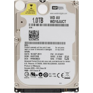 "Western Digital AV 2.5"" 1TB 5400 RPM 16MB Cache SATA 3.0Gb/s Internal Hard Drive"