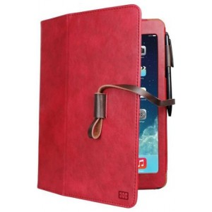 Promate  6959144003399   Agenda Premium Protective Leather Case with Stylus Holder and Card Slot for iPad Air-Red