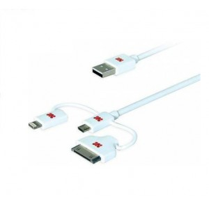 Promate 6959144013244  linkMate-trio Integrated 3 in 1 Smart USB Cable for Charge and Sync Lightning
