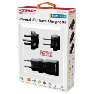Promate 6959144000312 Traverse Multiregional Travel USB Charger-Black