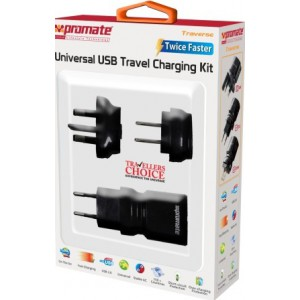 Promate 4959144000314 Traverse Multiregional Travel USB Charger-Black