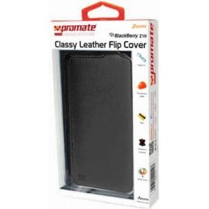Promate  6959144000107  Zemi BlackBerry Z10 Classy Leather Flip Cover - Black