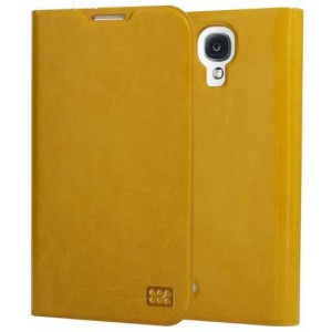 Promate Tama-S4 Elegant Book-Style Leather Flip Cover for Samsung Galaxy S4-Orange