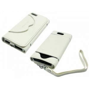 Promate  161815201331-W  Tacca-Luxurious Leather Flip Cover with Secure Snap-on Shell for iPhone 5 / 5s -White
