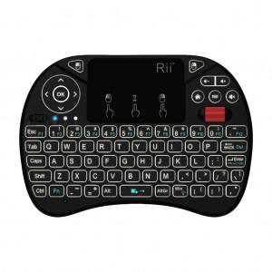Rii X8+ QWERTY RGB Backlighting Media Touchpad with Scroll Wheel - Black