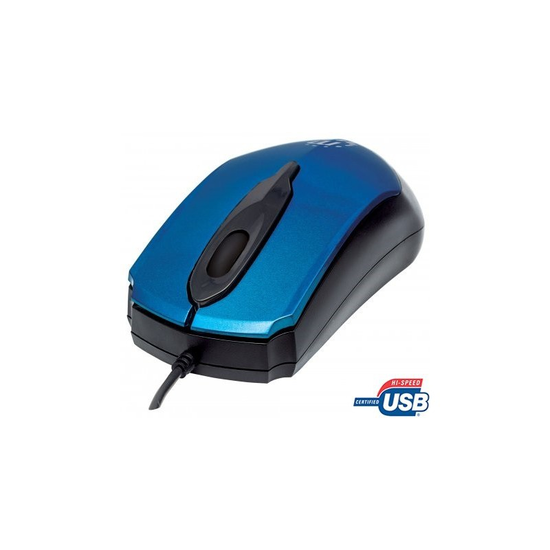 Manhattan 177801 Edge Optical USB Mouse - USB, Wired, Three Buttons with  Scroll Wheel, 1000 dpi, Blue