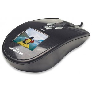 """Manhattan 177498  USB Photo Frame Optical Mouse -Built-in 1.5"""" LCD screen"""