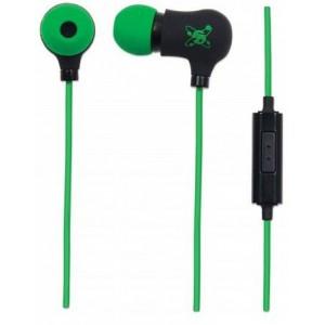 Manhattan 178860  Sound Science Nova Sweatproof Earphones - Lightweight  Earphones with In-Line Mic, Black-Green