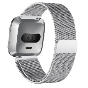 Fitbit Versa Magnetic Milanese Loop Watch Stainless Steel Band - Silver