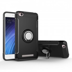 Tuff-Luv  E7_41  Xiaomi Redmi 4A Magnetic 360 Degree Rotation Ring Armor Protective Case -Black