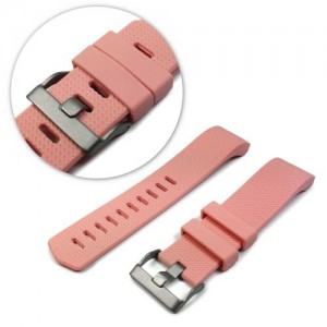 Tuff-Luv C9_67 Silicone Strap / Wristband and Clasp For Fitbit Charge 2 -Pink