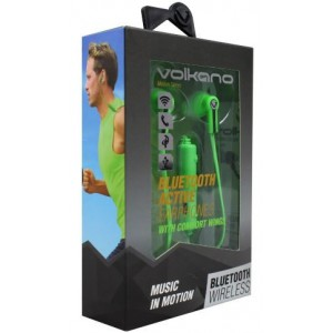 Volkano VK1005GNBK  Motion Green & Black Bluetooth Earphones