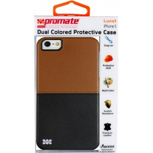 Promate  6161815122142  Lunet iPhone 5 Durable Case with a Cut-Out Design - Brown / Black
