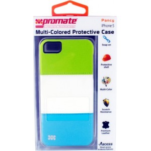 Promate  161815161437  Pancy iPhone 5 Multi-Colored Protective Case - Green/White/Blue
