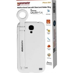 Promate 6959144001814-W Pless-S4 Multifunctional Case with a Stand and a Holder Ring for Samsung Galaxy S4 - White