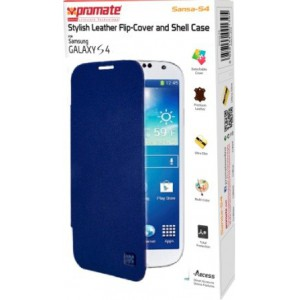 Promate 6959144001425 Sansa-S4 Stylish Leather Flip-Cover and Shell Case for Samsung Galaxy S4-Blue