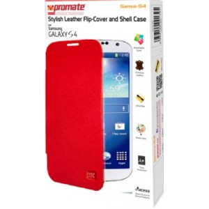 Promate  6959144001432  Sansa-S4 Stylish Leather Flip-Cover and Shell Case for Samsung Galaxy S4 - Red