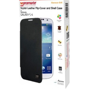 Promate 6959144001418  Sansa-S4 Stylish Leather Flip-Cover and Shell Case for Samsung Galaxy S4 - Black