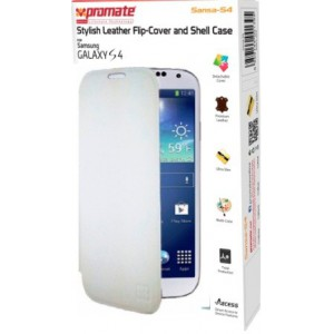 Promate  6959144001395  Sansa-S4 Stylish Leather Flip-Cover and Shell Case for Samsung Galaxy S4 - White