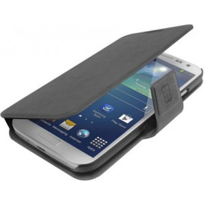 Promate  6959144000800  Zimba-S4 Premium Book-Style Flip Leather Case with Card Insert for Samsung Galaxy S4 - Grey