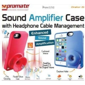 Promate  6959144005003  Orator-I5 iPhone 5 Sound Amplifier Case for Iphone 5/5s With Headphone Cable Management - Pink