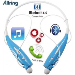 AllRing HBS-730-BLU Flexible Bluetooth Ver 4.0 Wireless Hand Free Sports Stereo Headsets Neckband Style Earphones - Blue