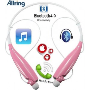 AllRing HBS-730-PNK Flexible Bluetooth Ver 4.0 Wireless Hand Free Sports Stereo Headsets Neckband Style Earphones - Pink