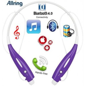 AllRing HBS-730-PRL Flexible Bluetooth Ver 4.0 Wireless Hand Free Sports Stereo Headsets Neckband Style Earphones - Purple