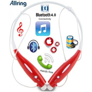 AllRing HBS-730-RED Flexible Bluetooth Ver 4.0 Wireless Hand Free Sports Stereo Headsets Neckband Style Earphones - Red