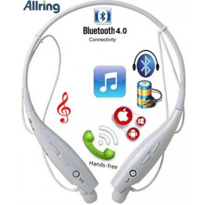 AllRing HBS-730-W Flexible Bluetooth Ver 4.0 Wireless Hand Free Sports Stereo Headsets Neckband Style Earphones - White