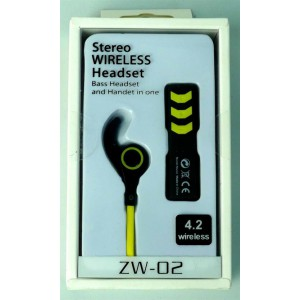 Geeko ZW-02-YLW Wireless Bluetooth Earphones , BT4.2 , Rechargeable Polymer Lithium-on Battery -Yellow