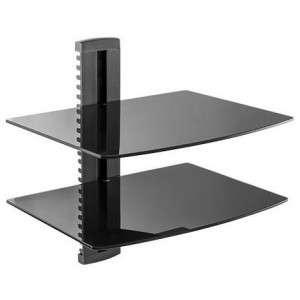 BRACKET DVD,2 SHELVES 6MM BLACK GLASS, 8KG.. ..380MM(W) X 280MM(D), BACK PILLER 400MM