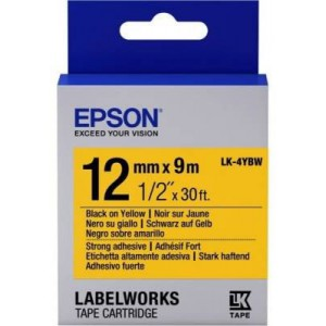 Epson C53S654014 Label Cartridge Strong Adhesive LK-4YBW Black/Yellow 12mm