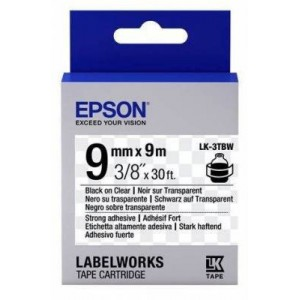Epson C53S653006 Label Cartridge Strong Adhesive LK-3TBW Black/Clear 9mm (9m)