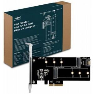 Vantec VANTEC UGT-M2PC200 ADP M.2 NVMe + M.2 SATA SSD PCIe X4 Adapter