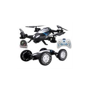 Sceedo L6055BK 2 In 1 Remote Controlled Flying Quadcopter Drone and Four Wheeler Multipurpose Vehicle